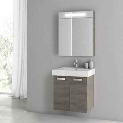 Cubical 21.9 Single Bathroom Vanity Set with Mirror Base Finish: Gray Oak Senlis