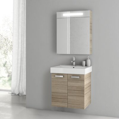Cubical 21.9 Single Bathroom Vanity Set with Mirror Base Finish: Larch Canapa