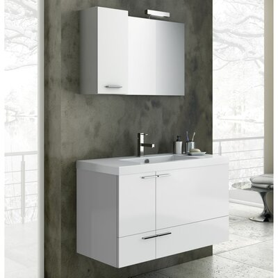 New Space 39.2 Single Bathroom Vanity Set with Mirror Base Finish: Gray Oak Senlis