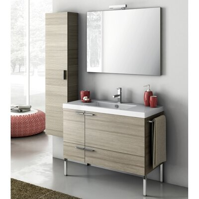 New Space 39.2 Single Bathroom Vanity Set with Mirror Base Finish: Larch Canapa
