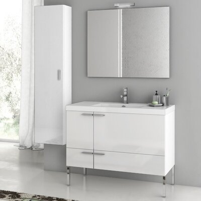 New Space 39.2 Single Bathroom Vanity Set with Mirror Base Finish: Glossy White