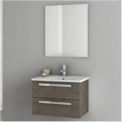 Dadila 24.4 Single Bathroom Vanity Set with Mirror Base Finish: Gray Oak Senlis