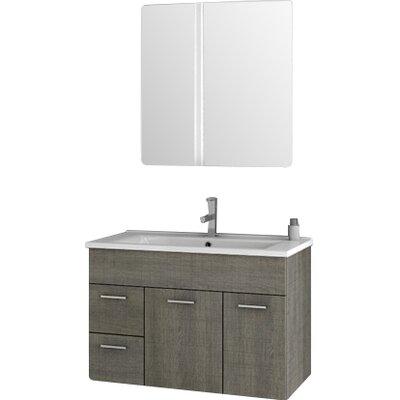 Loren 32.7 Single Bathroom Vanity Set with Mirror Base Finish: Gray Oak Senlis