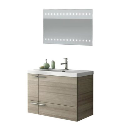 New Space 34 Single Bathroom Vanity Set with Mirror Base Finish: Wenge
