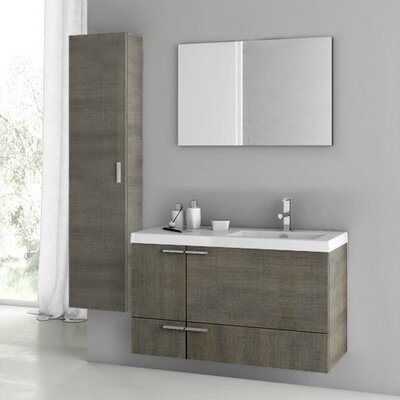 New Space 39 Single Bathroom Vanity Set with Mirror Base Finish: Gray Oak