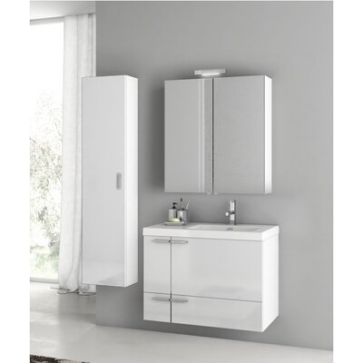 New Space 32 Single Bathroom Vanity Set Base Finish: Glossy White