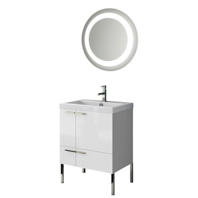 New Space 24 Single Bathroom Vanity Set with Mirror Base Finish: Wenge