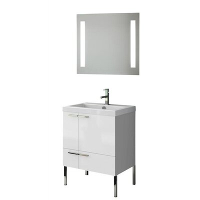 New Space 24 Single Bathroom Vanity Set with Mirror Base Finish: Gray Oak