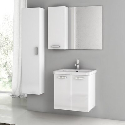 City Play 24 Single Bathroom Vanity Set with Mirror Base Finish: Glossy White