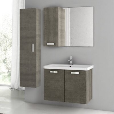 City Play 32 Single Bathroom Vanity Set with Mirror Base Finish: Larch Canapa