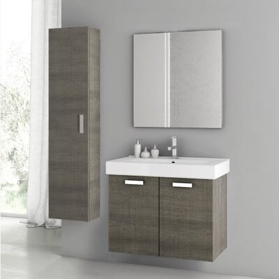 Cubical 2 30 Single Bathroom Vanity Set with Mirror Base Finish: Gray Oak