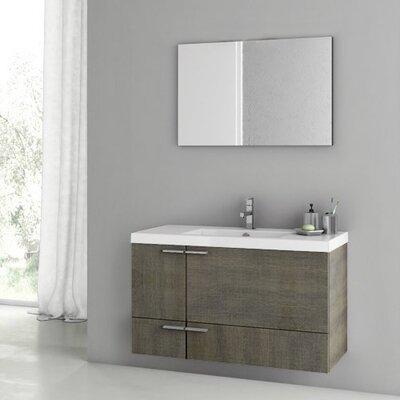New Space 39 Single Bathroom Vanity Set with Mirror Base Finish: Gray Oak