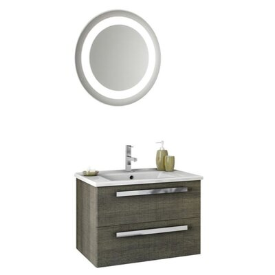 Dadila 26 Single Bathroom Vanity Set with Mirror Base Finish: Gray Oak