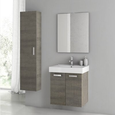 Cubical 2 24 Single Bathroom Vanity Set with Mirror Base Finish: Gray Oak