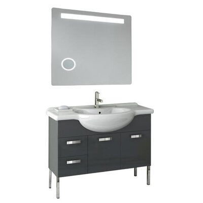 Phinex 41 Single Bathroom Vanity Set with Mirror Base Finish: Glossy Anthracite