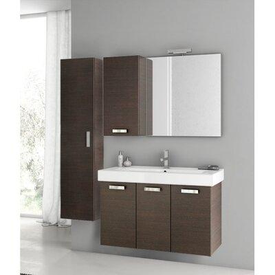 Cubical 41 Single Bathroom Vanity Set with Mirror Base Finish: Wenge