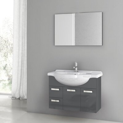 Phinex 34 Single Bathroom Vanity Set with Mirror Base Finish: Glossy Anthracite