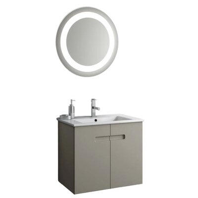 New York 26 Single Bathroom Vanity Set with Mirror Base Finish: Glossy White