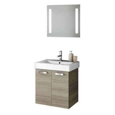 Cubical 24 Single Bathroom Vanity Set with Mirror Base Finish: Wenge