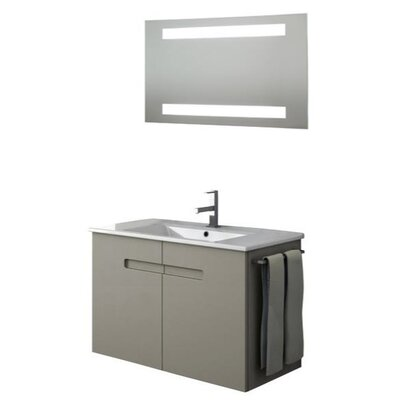 New York 35 Single Bathroom Vanity Set with Mirror Base Finish: Glossy White