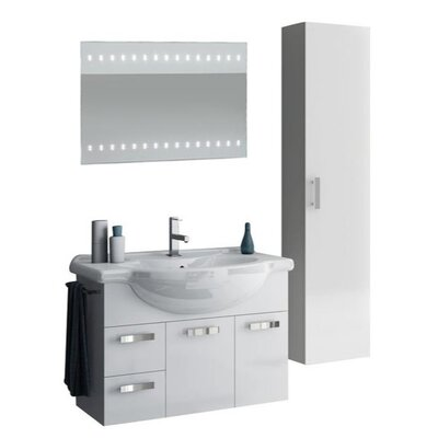 Phinex 35 Single Bathroom Vanity Set with Mirror Base Finish: Glossy White