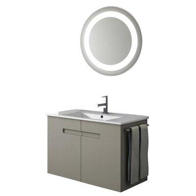 New York 35 Single Bathroom Vanity Set with Mirror Base Finish: Matt Canapa
