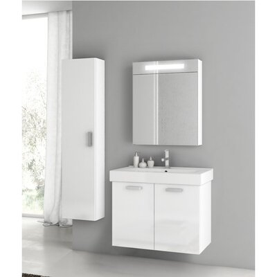 Cubical 27 Single Bathroom Vanity Set Base Finish: Glossy White