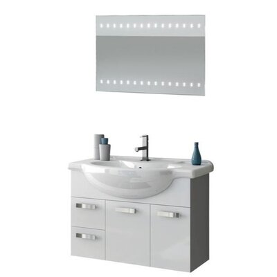 Phinex 34 Single Bathroom Vanity Set with Mirror Base Finish: Glossy Red
