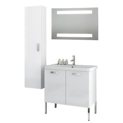 City Play 32 Single Bathroom Vanity Set with Mirror Base Finish: Glossy White