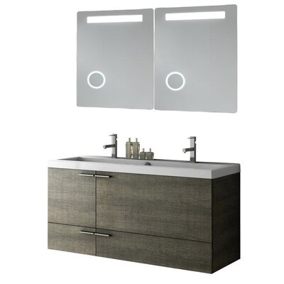 New Space 47 Double Bathroom Vanity Set with Mirror Base Finish: Wenge
