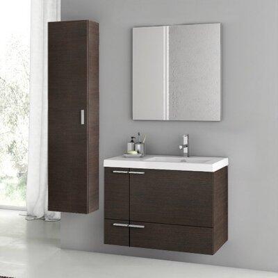 New Space 32 Single Bathroom Vanity Set with Mirror Base Finish: Wenge