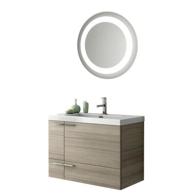 New Space 34 Single Bathroom Vanity Set with Mirror Base Finish: Glossy White