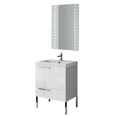 New Space 24 Single Bathroom Vanity Set with Mirror Base Finish: Larch Canapa