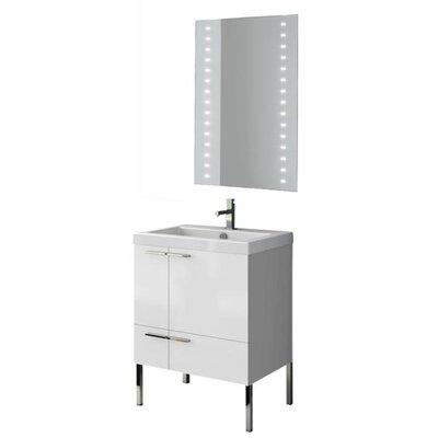 New Space 24 Single Bathroom Vanity Set with Mirror Base Finish: Gray Oak