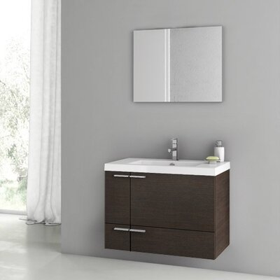 New Space 32 Single Bathroom Vanity Set with Mirror Base Finish: Wenge