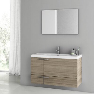 New Space 39 Single Bathroom Vanity Set with Mirror Base Finish: Larch Canapa