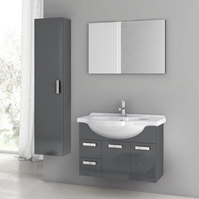 Phinex 34 Single Bathroom Vanity Set with Mirror Base Finish: Glossy White