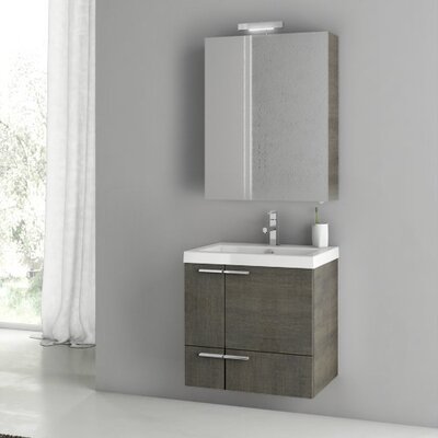 New Space 24 Single Bathroom Vanity Set Base Finish: Gray Oak
