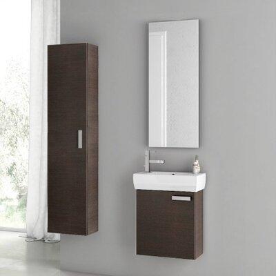 Cubical 20 Single Bathroom Vanity Set with Mirror Base Finish: Wenge