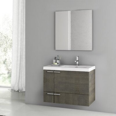 New Space 32 Single Bathroom Vanity Set with Mirror Base Finish: Gray Oak