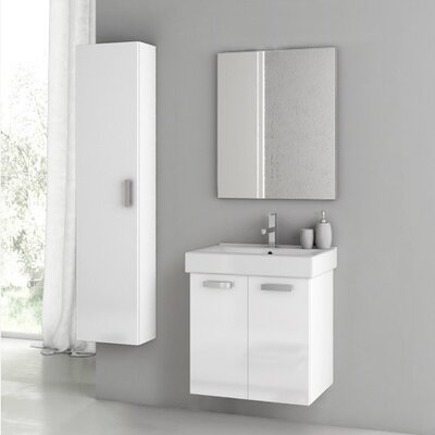 Cubical 2 24 Single Bathroom Vanity Set with Mirror Base Finish: Glossy White