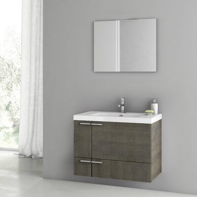 New Space 32 Single Bathroom Vanity Set with Mirror Base Finish: Gray Oak