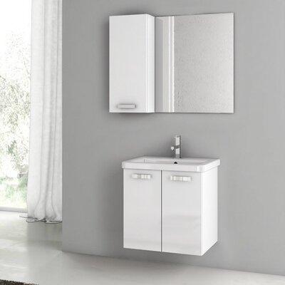 City Play 24 Single Bathroom Vanity Set with Mirror Base Finish: Glossy White