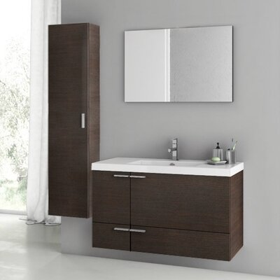 New Space 39 Single Bathroom Vanity Set with Mirror Base Finish: Wenge