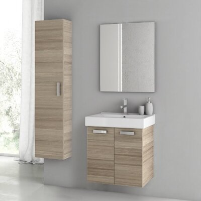 Cubical 2 24 Single Bathroom Vanity Set with Mirror Base Finish: Larch Canapa