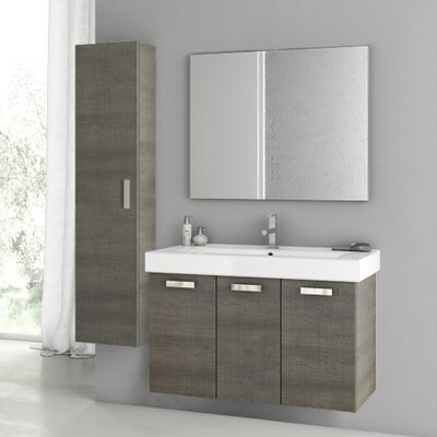 Cubical 2 41 Single Bathroom Vanity Set with Mirror Base Finish: Gray Oak
