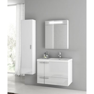 New Space 32 Single Bathroom Vanity Set Base Finish: Glossy White