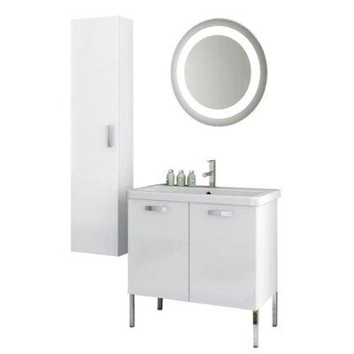 City Play 32 Single Bathroom Vanity Set with Mirror Base Finish: Glossy White