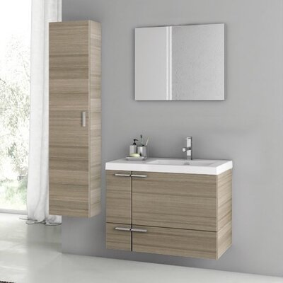 New Space 32 Single Bathroom Vanity Set with Mirror Base Finish: Larch Canapa