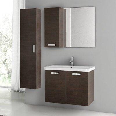City Play 32 Single Bathroom Vanity Set with Mirror Base Finish: Wenge